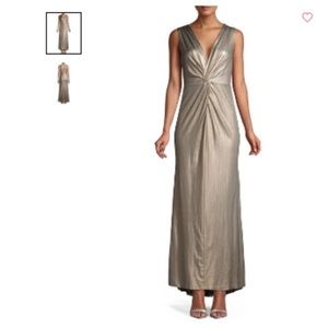 Calvin Klein metallic knotted gown- size 2 (new)